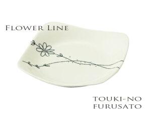 限定クーポンあり!フラワーライン48角皿(13cm) 磁器 軽量 丈夫 四角皿 取り皿 ケーキ皿 花 白い食器 和食器 洋食器 trys亜