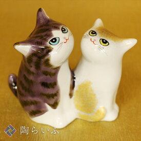 九谷焼 3.8号仲良し猫 紫金釉彩<送料無料>置物 縁起物 招き猫 人気 ギフト お祝い/結婚祝い