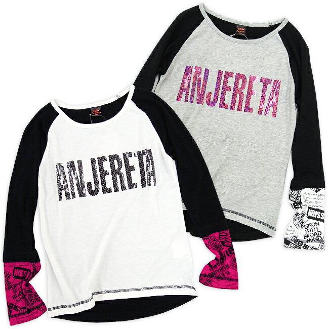 【2014☆秋の新作】Anjereta (アンジェリータ) すそイレギュラーラグランTシャツ/140cm/150cm/160cm/ジュニア/キッズ/女の子/子供/