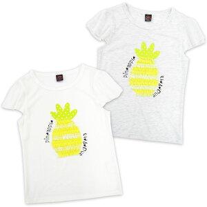 Anjereta (アンジェリータ) パイナップル柄半袖Tシャツ/140cm/150cm/160cm/ジュニア/キッズ/女の子/子供/