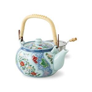 《670cc》取っ手付きのステンレス網茶こし付き土瓶型急須 花流水 長崎県産 波佐見焼(はさみやき)お茶 緑茶 おもてなし 法人 会社 事務所 オフィス 来客 接客 応接 茶器 国産 日本製 有