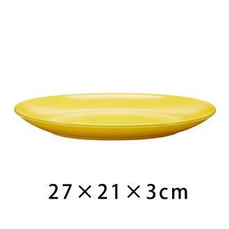 波佐見焼良好设计奖获奖Common Oval铭牌270mm黄色椭圆盘子最盛期盘子礼物komon一般简单的黄色yellow午餐铭牌餐具堆积素色