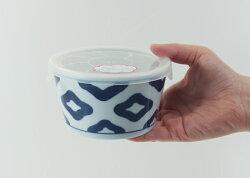 波佐見焼インディゴクラシック青海波ノンラップ鉢(小)325ml保存容器電子レンジ使用可冷凍保存加熱磁器おかず鉢0