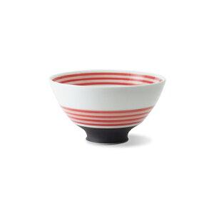 波佐見焼 駒筋 ハルヒ碗(中・赤) 300ml お茶碗 ご飯茶碗 和食器 はさみ焼 磁器 電子レンジ使用可 贈り物 ギフト HASAMI おしゃれ