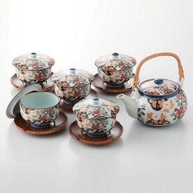 亀甲岩牡丹 蓋付茶器揃 (茶托付) 湯呑5客セット 土瓶 急須 お茶 送料無料