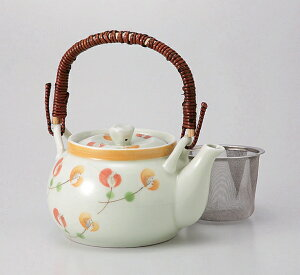 波佐見焼 二色花 MS6号土瓶《たっぷり950ミりリットル》ステンレス網茶こし 大きな 土瓶型急須(有田焼桃山窯泰工場作)はさみ焼 お茶 緑茶 おもてなし 法人 会社 オフィス 来客 接客 茶器 有
