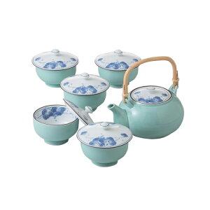 波佐見焼 掛分ぶどう M蓋付茶器揃 蓋付き湯のみ 5客 土瓶型急須セット 国産 茶器 はさみ焼 湯飲み・ゆのみ・湯呑み 重なりがよい スタッキング オフィス 事務所 お茶 緑茶 マジック茶こし付