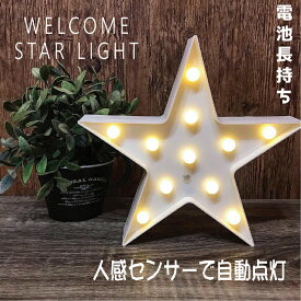 ウェルカムスターライト 人感センサー 星型 壁掛け 白 ホワイト マーキーライト LED 電池式 単3電池