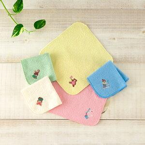 1秒タオル ものがたり(刺繍)ハンカチ 18×18cm 日本製 ベビー キッズ ホットマン公式