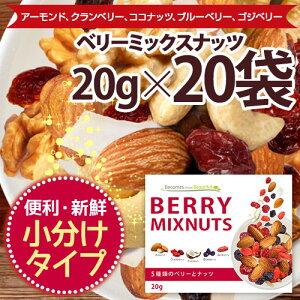 ベリーミックスナッツ 20袋セット 小分け 贅沢な5種類 塩味 栄養成分豊富 送料無料 ポスト投函