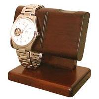 ウォッチスタンドW sc91 時計スタンド,腕時計,簡単に美しくディスプレイ,2個掛けタイプ,腕時計を置時計として,三つ折れバックル【豊岡クラフト】木製品を工房より直送!【送料無料】