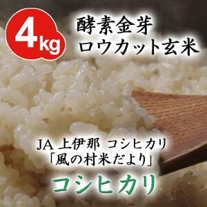 酵素金芽ロウカット玄米JA上伊那 コシヒカリ 「風の村米だより」4kg【送料込】有機質肥料「米の精」使用免疫ビタミンと言われるLPS(リポポリサッカライド)が豊富