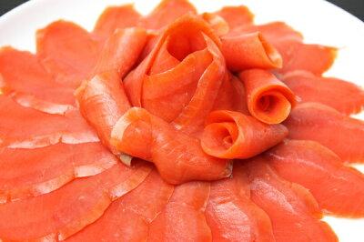 送料無料スモークサーモン300g紅鮭本物志向の方へ。高級ホテルにも卸している本物の味わい。豊洲で厳選の王様セレクト。【スモークサーモン紅鮭トロサーモン刺身オードブルサラダ紅鮭築地豊洲業務用料理】