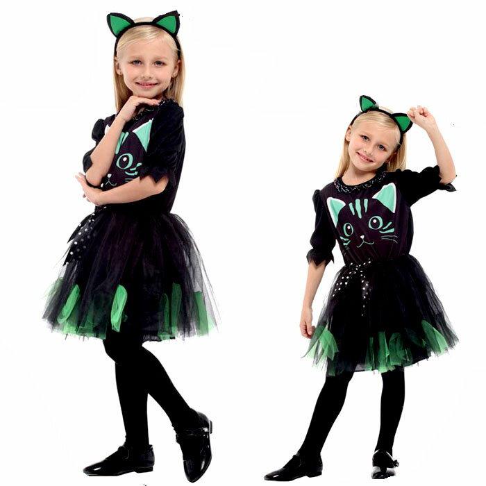 ハロウィン 衣装 子供 猫娘 コスプレ 子供用 ネコ娘 かぼちゃ コスチューム HALLOWEEN 仮装 イベント 魔法使い こども チュール ワンピース 110 120 130 140 cm 緑 こすぷれ