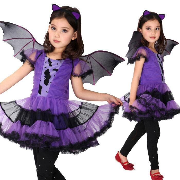 送料無料 ハロウィン 衣装 子供 コウモリ 魔女 悪魔 コスプレ ハロウィン仮装 女の子 コスチューム 魔法 巫女 コウモリ コスプレ ハロウィーン 小魔女 3点セット ハロウィン コスプレ 数量限定 100セット