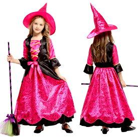 ハロウィン衣装 子供 魔女 巫女 ウィッチ コスプレ 悪魔 ワンピース 豪華 帽子付き コスチューム 女の子 衣装 子供服 万聖節 イベント ハロウィン仮装 女の子 時代劇 デビル かぼちゃ ハロウィーン110cm-140cm