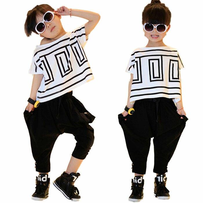 韓国子供服 ダンス衣装 キッズ 子供 赤ちゃん ヒップホップ 女の子 ガールズ ジュニア ストリート ジャズ ダンス 衣装 セットアップ サルエルパンツ キッズダンス tシャツ 半袖 舞台 演出服 ダンスウェア かっこいい