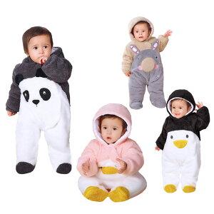 ベビー 着ぐるみ パンダ ペンギン ウサギ キッズ ベビー カバーオール ロンパース ベビー服 新生児 赤ちゃん もこもこ 男の子 女の子 厚手 冬服 防寒 あったか 寝袋 クリスマス ハロウィン