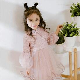 2f2c30517b5c6 韓国子供服 キッズ 女の子 春秋着 レースワンピース 長袖ドレス プリンセスドレ レースドレス ふわふわ
