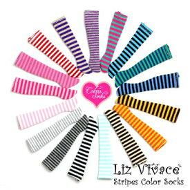 【ゆうパケット発送】ストライプカラーニーソックス Stripes Color Socks リズビバーチェ LizVivace