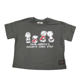 ベビーザらス限定 SNOOPY×WRANGLER 天竺 半袖Tシャツ (チャコール×90cm)