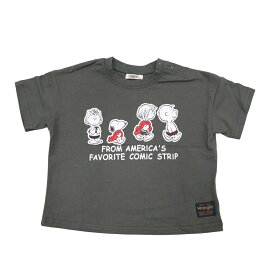 ベビーザらス限定 SNOOPY×WRANGLER 天竺 半袖Tシャツ (チャコール×100cm)