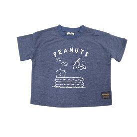 ベビーザらス限定 SNOOPY×WRANGLER ネップ 半袖Tシャツ (ネイビー×90cm)