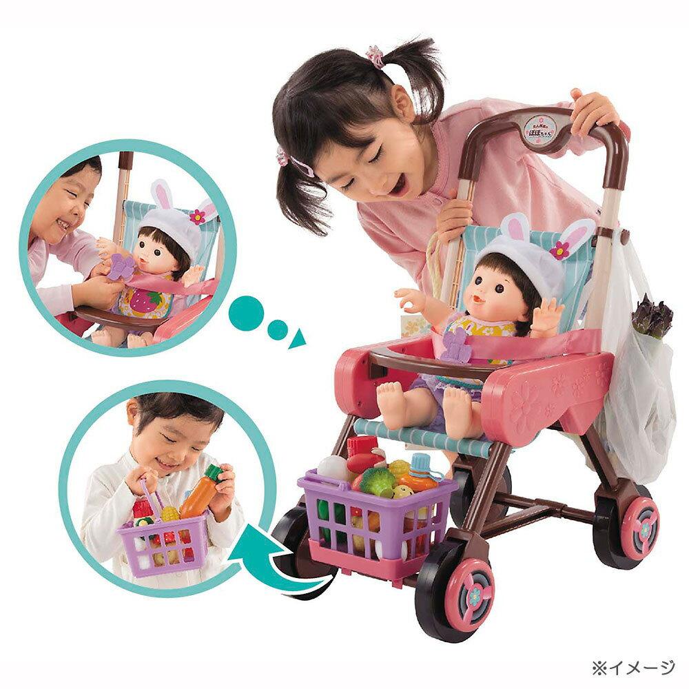 【クリアランス】ぽぽちゃんちいぽぽちゃんのカゴ&シートベルトつき お買いものベビーカー フレンチローズピンク