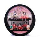 【雛人形】ベビーザらス限定 ケース五人飾り「金彩枝桜 丸形黒塗アクリル」【送料無料】