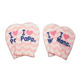 ベビーザらス限定 アイラブパパママ 2P新生児ミトン シェブロン柄(ピンク×フリー)