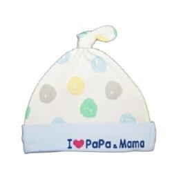 05cb7578ce9dd ベビーザらス限定 アイラブパパママ 新生児帽子 水玉柄(サックス×フリー)