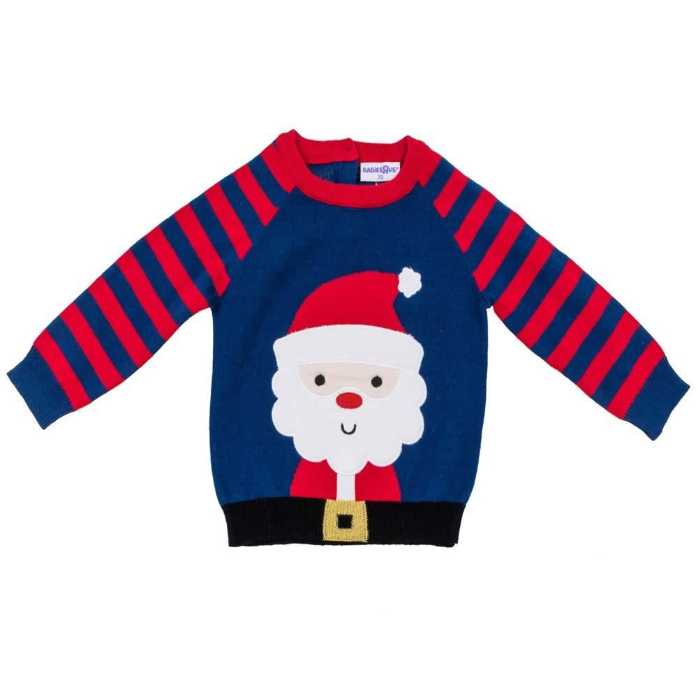 【クリアランス】ベビーザらスオリジナル クリスマス長袖セーター サンタ柄(ネイビー×80cm)