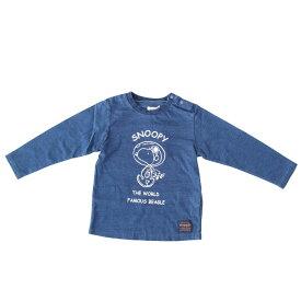 ベビーザらス限定 SNOOPY×WRANGLER スヌーピー×ラングラー インディゴ染め 長袖Tシャツ(ネイビー×90cm)