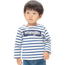 ベビーザらス限定 Wrangler ラングラー 天竺 ボーダー 長袖Tシャツ (ブルー×80cm)
