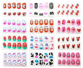 【ネイルチップ】【メール便可】かわいいネイルセット(箱入り) 12個セット【おもちゃ グッズ 女の子 セット おしゃれ 爪用接着剤付属 付け爪 かわいい 簡単 まとめ買い ランチ景品 景品 おまけ 販促品 子供 子ども キッズ キッズネイル チップ】