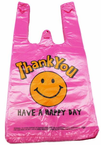 【ビニール袋】【メール便可】ビニール袋 VINYL BAG MINI SMILE PINK 100枚セット(絵柄片面のみ)【おもちゃ グッズ 袋 レジ袋 ビニールバッグ 手提げ かわいい おしゃれ まとめ買い 笑顔 スマイル セット 販促品 イベント 縁日 お祭り 男の子 女の子】