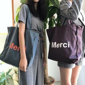 Merciトート キャンバストートバッグ/エコトートバッグ/大容量/かわいい/レディース/肩掛け