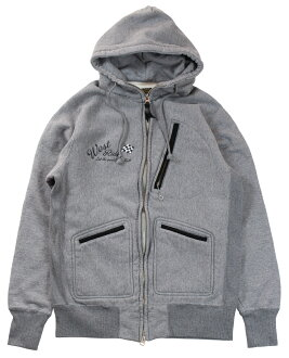 WESTRIDE [-HEAVY WEIGHT FULL-ZIP HOODIE- H.GRY size.34,36,38,40,42,44]