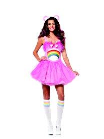 ケアベア チアベア 2点セット 米国オフィシャルコスチューム コスプレ衣装 (二次会、結婚式、仮装、パーティー、宴会、ハロウィン) 女性 大人用