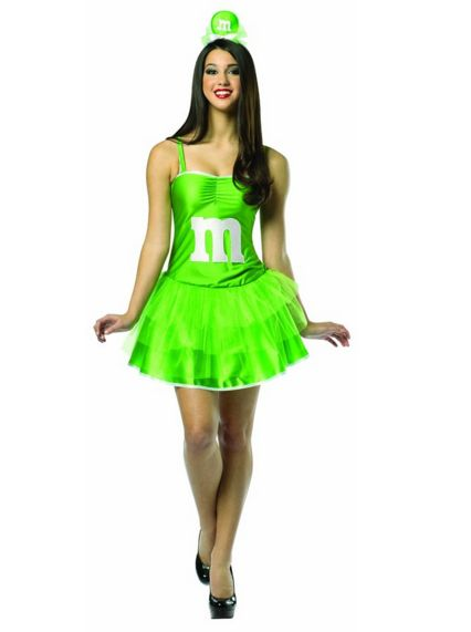 M&M's パーティードレス グリーン仮装コスチューム イベント コスプレ・ハロウィン・結婚式余興・お笑い 女性大人用