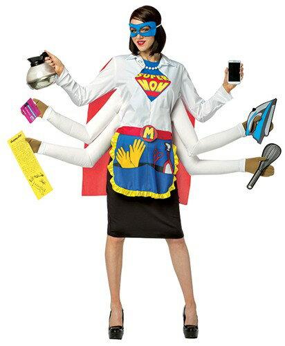 スーパーママコスチューム アダルト 4点セット お笑い系コスチューム コスプレ衣装 (二次会、結婚式、おもしろ仮装、パーティー、舞台、演劇、ハロウィン)女性 大人用