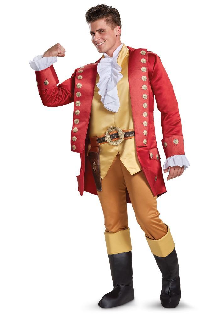 ディズニー映画 美女と野獣 ガストン デラックス メンズコスチューム 4点セット 男性用 コスプレ衣装 (二次会、仮装、パーティー、ハロウィン)大人男性用