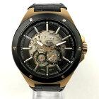 【中古】Furbo design フルボデザイン 自動巻き 腕時計 F2501 革ベルト 黒×金 ブラック×ブロンズ 中古品 05r3076