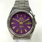 【中古】ORIENT オリエント 自動巻き 腕時計 メンズ シルバー×パープル 銀×紫  中古品 05r3079