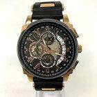 【中古】Dolce Medio ドルチェ メディオ クロノグラフ 腕時計 DM-12206 メンズ ブラック×ブロンズ 黒×金 中古品 05r3082