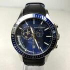 【中古】JACQUES LEMANS ジャックルマン クオーツ 腕時計 クロノグラフ 革ベルト メンズ ブルー×ブラック 青×黒 中古品 05r3084
