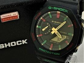 【中古】CASIO G-SHOCK カシオ ジーショック 腕時計 20気圧 GA-2100TH カーボンコアガード クリスマスカラー アナデジ 黒 ブラック 箱付き 03r2489
