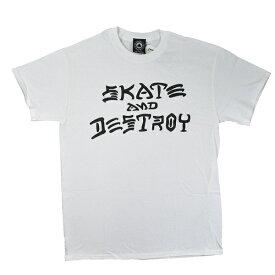 【メール便送料無料】THRASHER Skate And Destroy Tシャツ WHITE【USモデル】