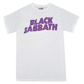 BLACK SABBATH ブラックサバス Wavy Logo Vintage Tシャツ WHITE