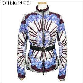 EMILIO PUCCI(エミリオプッチ)Porticato柄/レディース/ベルト付ショート丈ダウンジャケット/サイズ40
